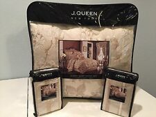J. Queen New York Sophia Sand 6 PC Queen Comforter Pillow Shams Bedskirt Set
