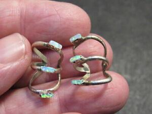 sterling silver opal Earrings  Cuff