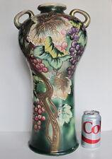 "Large Antique Japanese Chinese Satsuma Vase Grapes On Vine19"" tall"