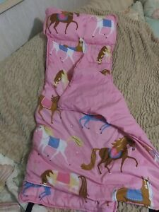 Wildkin Pink Horses Nap Mat With Pillow Roll Up - Toddler - Olive Kids - USED
