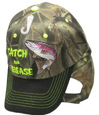Catch & Release Trout Fishing Camouflage Camo Black Bill Embroidered Cap Hat 936