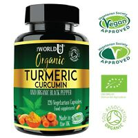 NEW ORGANIC Turmeric Curcumin 4 MONTHS SUPPLY 120 Capsules &Black Pepper Tumeric