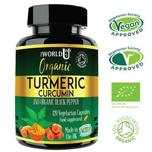 ORGANIC Turmeric Curcumin 4 MONTHS SUPPLY 120 Capsules +Black Pepper Tumeric NEW