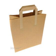 "100 MEDIUM SIZE BROWN KRAFT CRAFT PAPER SOS CARRIER BAGS 8"" x 4"" x 10"""
