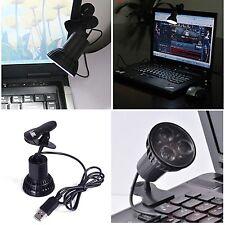 USB 3 LED Clamping Clip Laptop Light Lamp for Desktop Notebook PC Tablet Reading