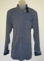 Buffalo David Bitton L/S Mens Shirt Size XXL Slim Stretch Blue Mini Check NWT