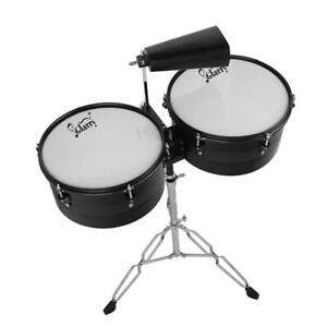 """Glarry 13""""&14"""" Timbales Snare Drum Set Latin Percussion w/ Stand Sticks Cowbell"""