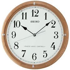 Seiko Wall Clock Radio Controlled Wooden White Face Home Décor 31 x 3.7cm