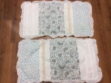 FLORAL PAISLEY SHAMS SET OF 2 KING WHITE BLUE BEIGE LACE RUFFLE ROMANTIC