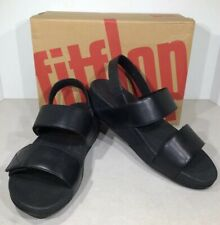 FitFlop Mina Back-Strap Women's Size 9 Black Leather Wedge Sandals XS-556