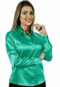 Women Satin Work Casual Office Shirt Button Down Solid Collar Blouse - Turquoise