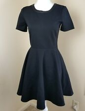 Madewell J Crew Black Fit And Flare Dress sz S Small Leather Trim Ponte Knit