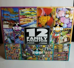 12 Family Puzzle Pack Beach Floral Colorful 4/150, 4/300 & 4/500 piece Puzzles!