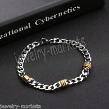 """Two Tone Stainless Steel Men's Chain Link Bracelet Wristband Cuff Bangle 8.25"""""""