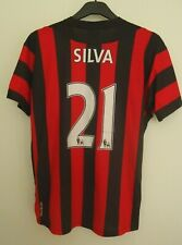 MANCHESTER CITY OFFICIAL  FOOTBALL SHIRT BY UMBRO SILVA NO21 2011/2012  SIZE L