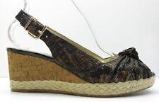 Antonio Melani Black Leather Slingback Platform Wedge Sandals Pumps Heels 9M 9