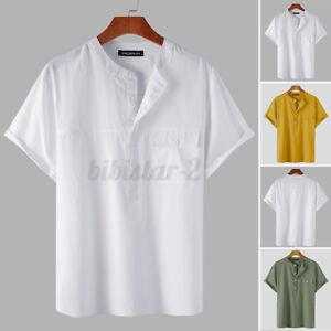 US STOCK Mens Linen V Neck Shirts Short Sleeve Beach Holiday Henley Shirts Tops