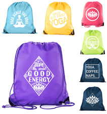 Yoga Drawstring Backpacks great for your Yoga Gear Gloves socks and towel