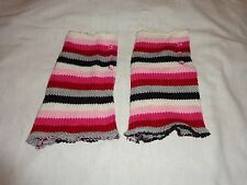 Handmade Knit Multi-Colored Boot Toppers Leg Warmers with Pink Buttons - CUTE!