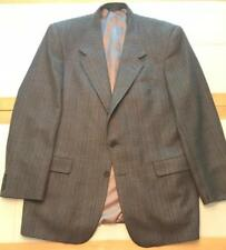 Men's Aquascutum 100% Wool Brown Plaid Jacket Size 44L in Perfect Condition