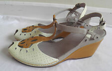 CLARKS Mustard & Cream Patent LEATHER T BAR WEDGE HEEL SANDALS Size 7 Worn once