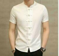 Chic Mens Casual Shirts Short Sleeve Stand Collar Summer Coat Solid Chinese Tops
