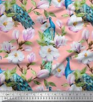 Soimoi Fabric Peacock,Leaves & Magnolia Floral Fabric Prints By Meter-FL-1290J