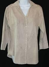 NEW Sacred Threads Art of Clothing Light Brown ART Cotton Pieced Shirt Sz S