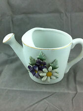 Vintage Inarco porcelain watering can planter violets daisy made in Japan
