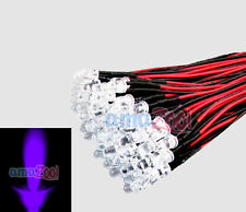 100pcs x UV purple 5mm Pre Wired led light 24V 20cm Bulbs Light Lamp Water clear