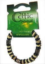 Wooden Beaded Irish Bracelet Celtic Spirit Cream and Black Stretchable 8060Blw