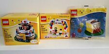 3 LEGO BIRTHDAY Sets 40048 CAKE 40153 POP UP JESTER 850791 PARTY CLOWN BALLOONS