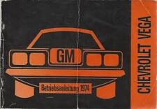 Chevrolet Vega Manual de instrucciones de 1974 guía de operaciones manual bordo libro gm ba