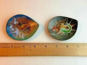 Vintage MCM Enamel On Copper Trinket Dish Lot of 2 Seahorse Made In Holland