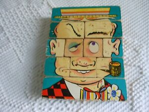 Vtg. Charllie Changeable Block Puzzle Faces 1940's -Many Options
