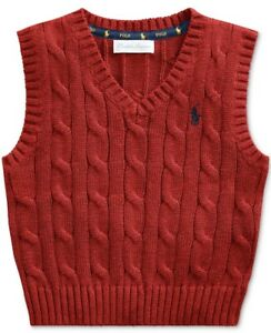 Polo Ralph Lauren Baby Boys Cable Knit Cotton Sweater Vest Color Red Size 6M New