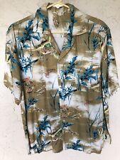 1950's Men's Rayon Angler Fish Hawaiian Shirt Size Large