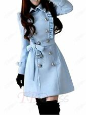 Lolita Blue Stand Collar Double-Breasted Overcoat Fashion Women Costume Coat XL
