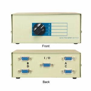 Kentek VGA HD15 4Way Manual Switch Box Female I/O ABCD Port PC MAC Video Monitor