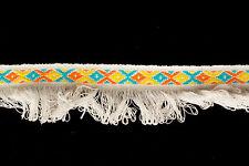 30mm Bianco Woven Jacquard Fringe Ribbon Trim - 15 METRI