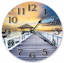 "10.5"" GAZEBO ON BEACH DOCK CLOCK - Large 10.5"" Wall Clock - Home Décor - 3084"