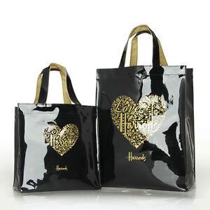Harrods Gold Heart Black PVC Tote Bag Top-handle Casual Shopping  bag Handbag
