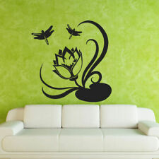 Wall Decal Flower Lotus Plant Dragonfly Water Cleanliness Buddhism Yoga M146