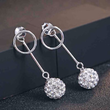 Sterling silver Ear jacket Shamballa earrings jeckets with circle silver studs