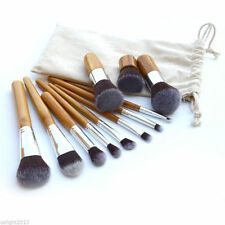 New 11pcs Bamboo Handle Soft Makeup Brush Sets Beauty Cosmetic Kit with Bag Case