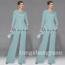 Classic Pants Suit Mother Of The Bride Dresses Formal Chiffon Suits Two Pieces