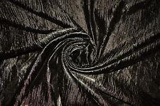 HALLOWEEN BLACK CRUSHED METALLIC LAMÉ DISCO DANCE DRESS CRAFT FABRIC MATERIAL