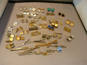 JOB LOT 45 ANTIQUE VINTAGE CUFFLINKS TIE SLIDES, SILVER,GOLD PLATED, ROLLED GOLD