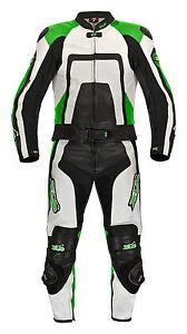 Lederkombi Zweiteiler von XLS Motorradkombi zweiteilig Schwarz Weiß Kawa Grün