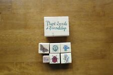 Lot of seven rubber stamps. Bear, Flowers, Butterfly, Ladybug and message